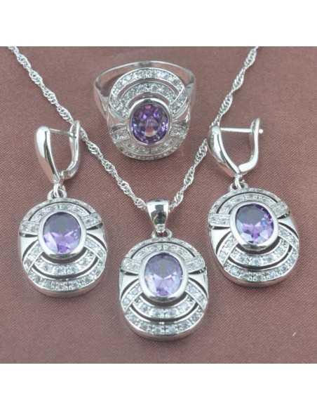 Set Bijuterii argintat Saturn Violet Set Bijuterii 190,40lei