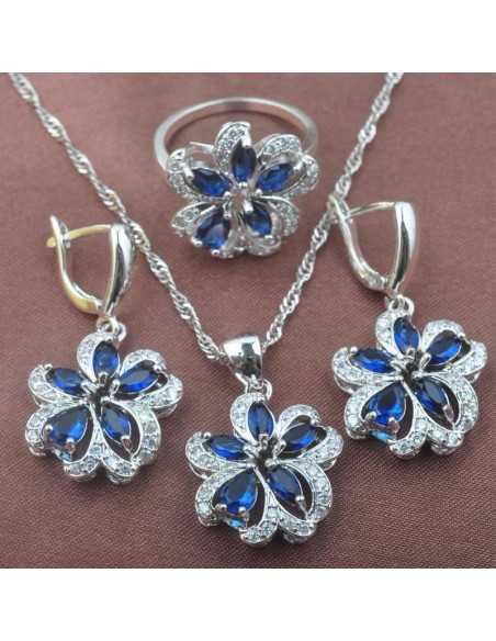 Set Bijuterii argintat Tigru Albastru Set Bijuterii 190,40lei