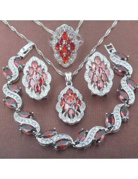 Set Bijuterii argintat Queen Rosu Set Bijuterii 190,40lei