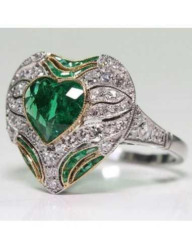 Inel Argintat Cristal Heart Verde Inele 63,00lei
