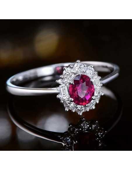 Inel Argintat Sparkling Rosu Inele 65,45lei
