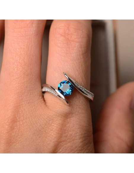Inel Argintat The Eye Albastru Inele 65,45lei