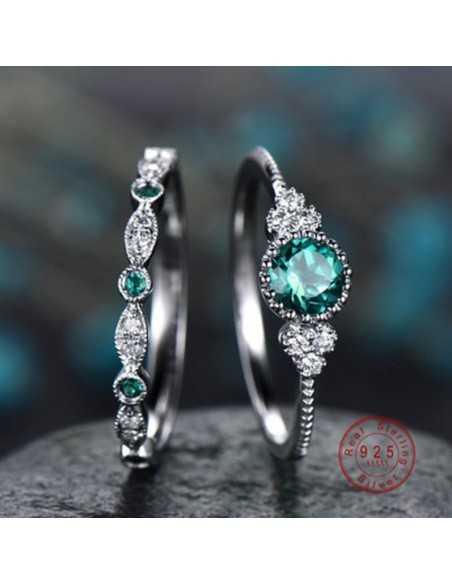 Set inele argintate Druidic Verde Inele 65,45lei