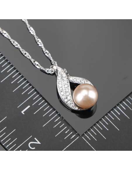 Set Bijuterii Argintate Perle Roz Set Bijuterii 170,00lei