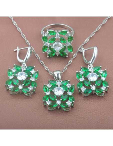 Set Bijuterii argintat Venus verde Set Bijuterii 240,00lei