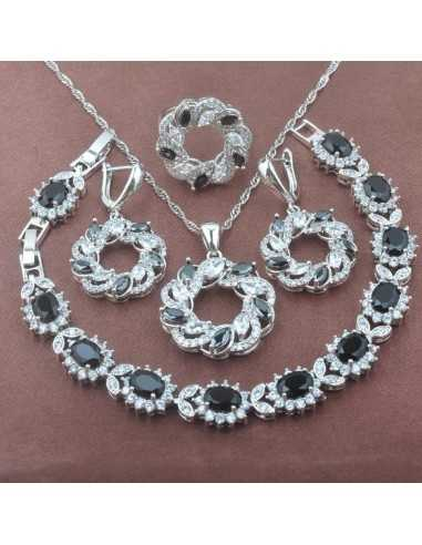 Set Bijuterii argintat Coral Negru Set Bijuterii 190,40lei