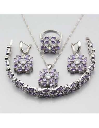 Set Bijuterii argintat Burgundy Violet Set Bijuterii 197,00lei