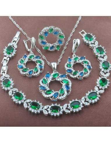 Set Bijuterii argintat Venus Verde Set Bijuterii 196,00lei