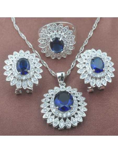 Set Bijuterii argintat Solaris Albastru Set Bijuterii 197,00lei