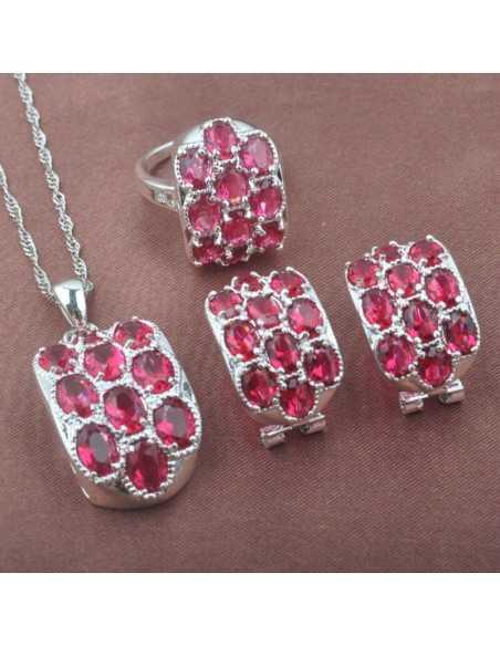 Set Bijuterii argintat Monaco Rosu Set Bijuterii 190,40lei
