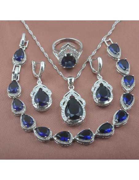 Set Bijuterii Argintat Duces Albastru Set Bijuterii 190,40lei